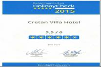 Cretan Villa Hotel in Ierapetra Crete | Holiday Check Award 2015
